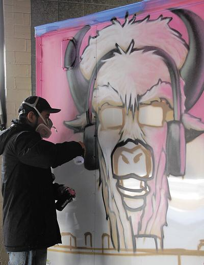 Arts council hires spray artist to paint trailer