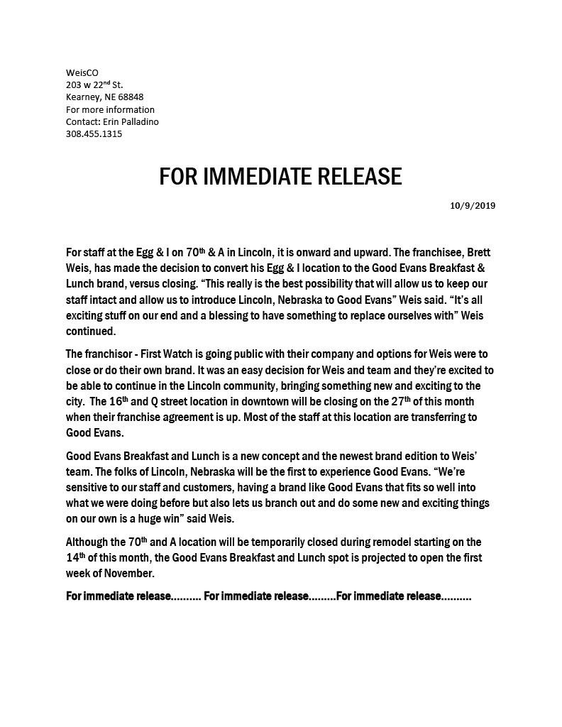 The Egg & I Press Release