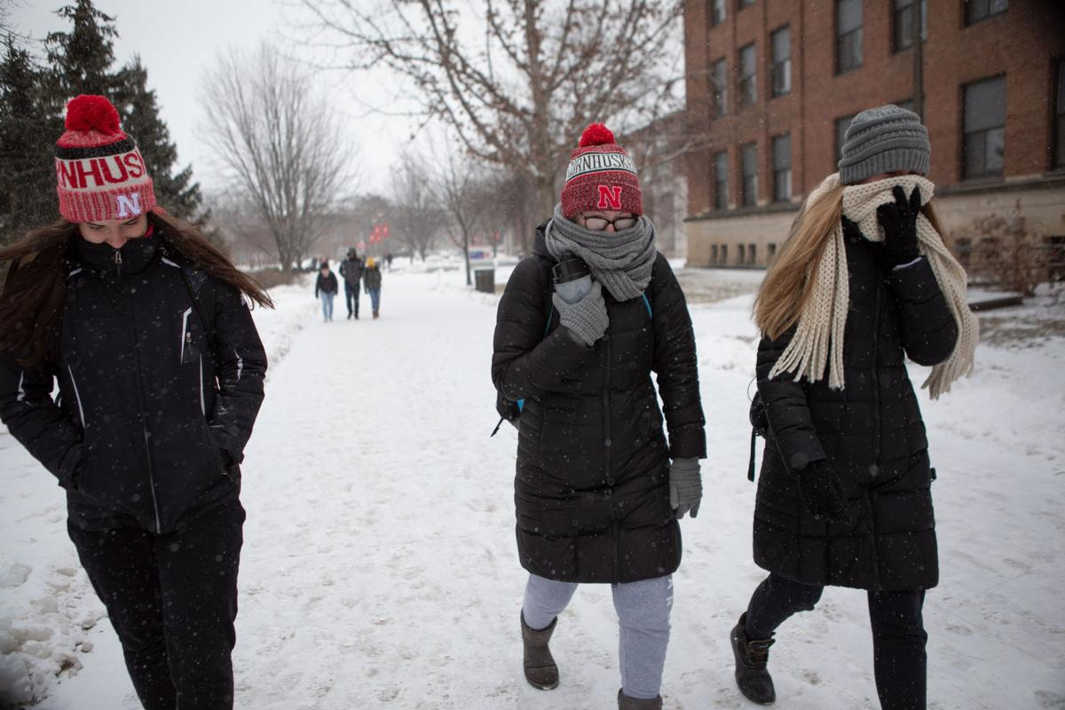 c615ee7d221b9 Students walk through University of Nebraska-Lincoln city campus in the  snow on Wednesday