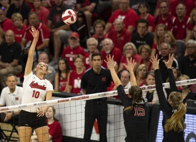 Madi Kubik hits against Stanford