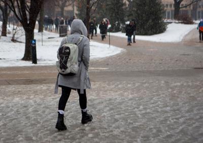 Student walks through slush January 2020