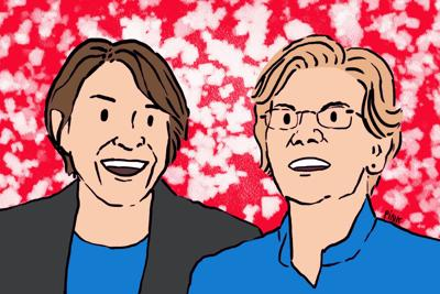 Klobuchar and Warren art