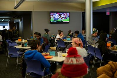 Students in Selleck Dining Center before upcoming renovations