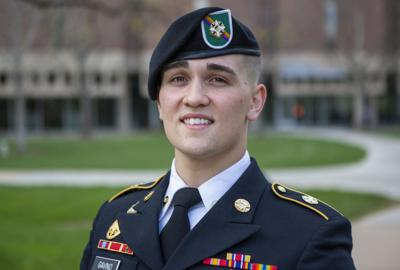 2f420ef882d Army ROTC criminology and criminal justice major Niko Gavino stands outside  Love Library on Thursday