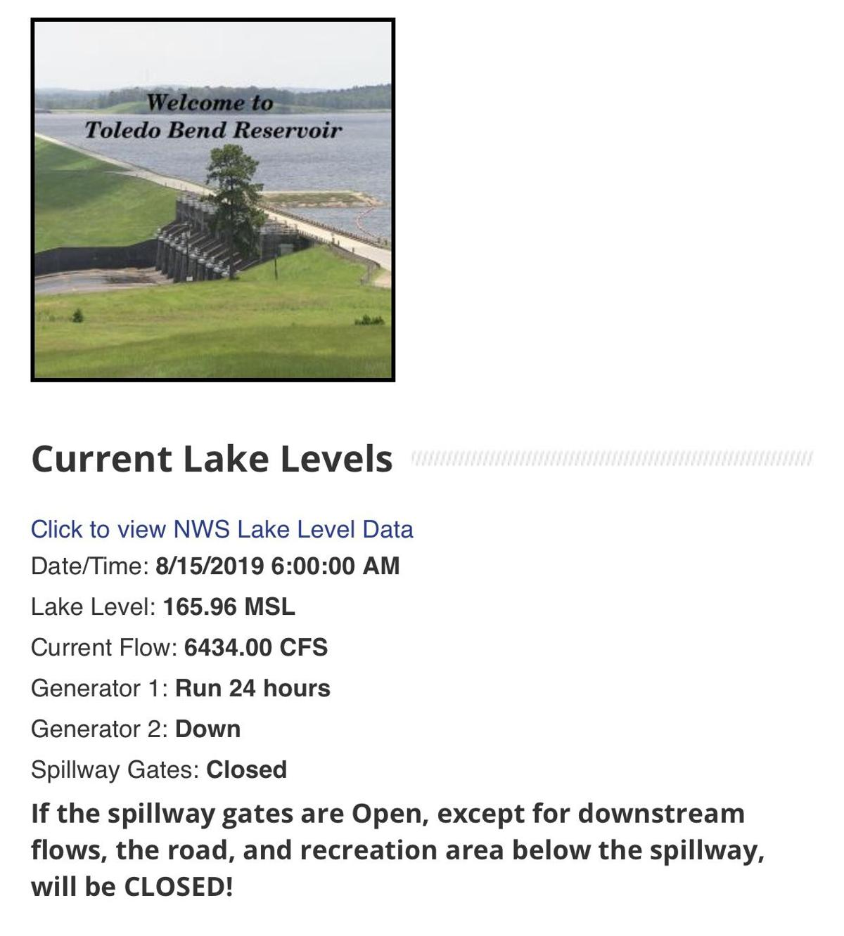 Current Toledo Bend Lake Level, one generator running as repairs at spillway continue