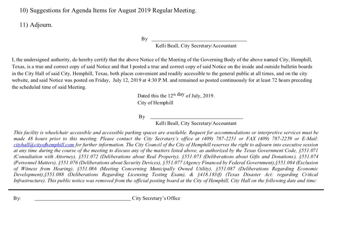 Hemphill City Council agenda posted