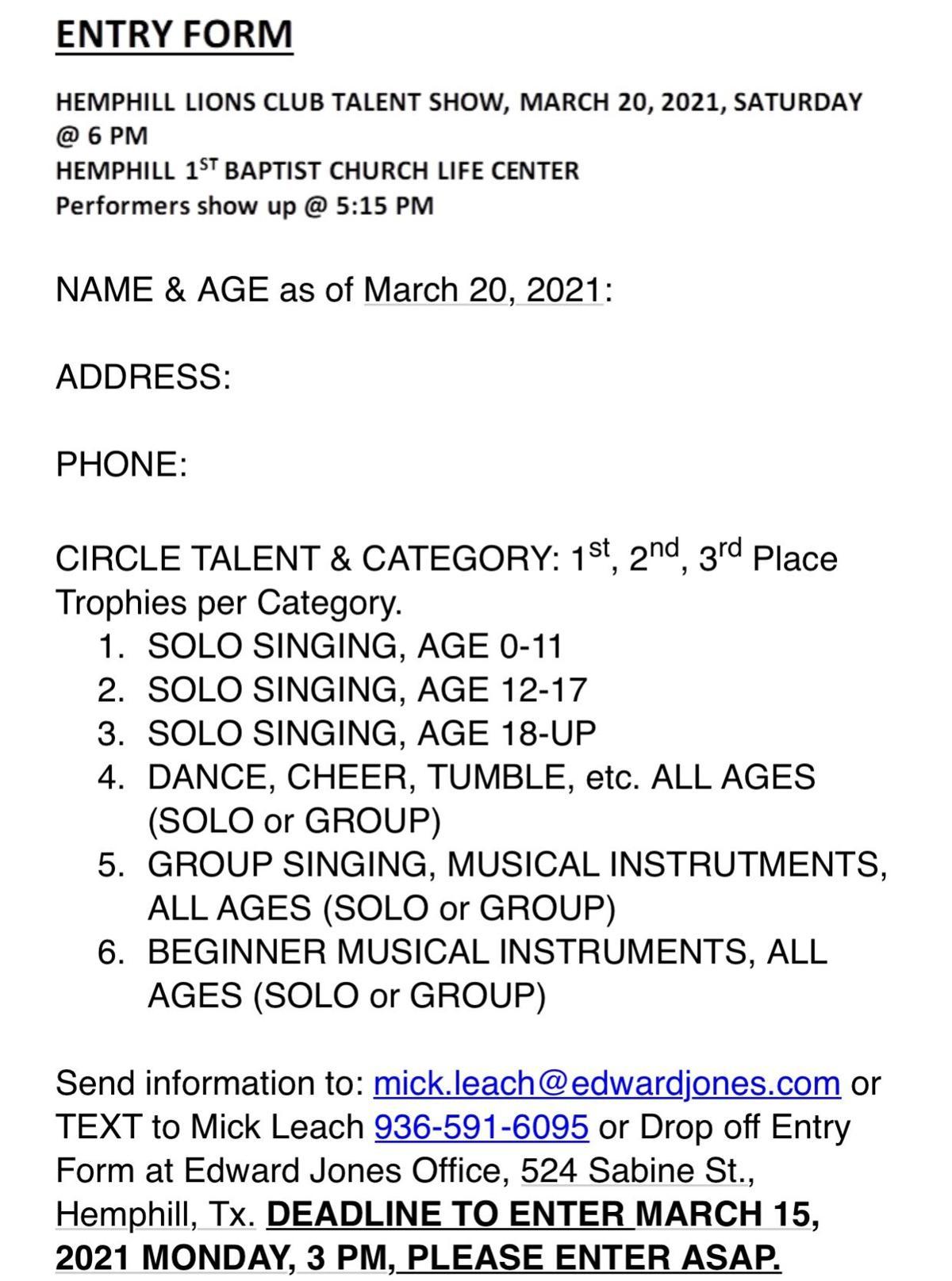 Hemphill Lions Club Talent Show, sign up today
