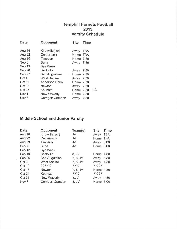 Hemphill Hornet 2019 Football Schedule