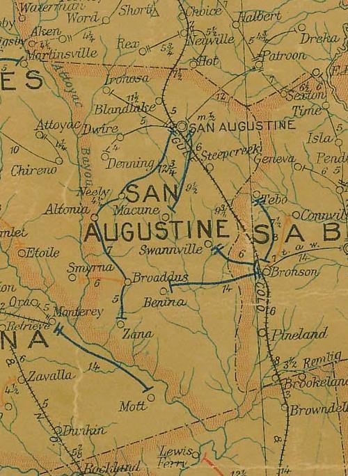 San Augustine historic map