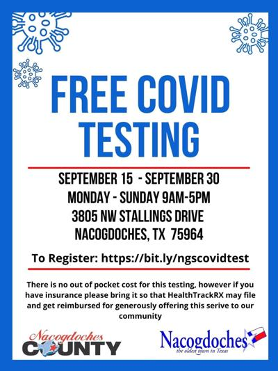 Temporary COVID-19 Testing Site to Open in Nacogdoches