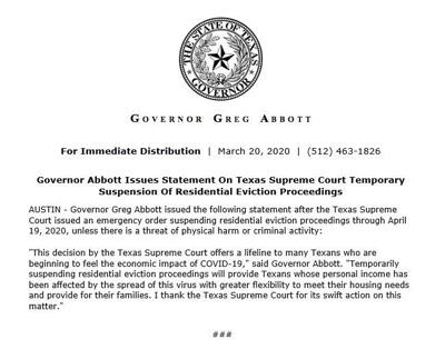 Statement on Texas Supreme Court emergency order suspending residential eviction