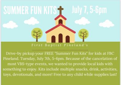 """FBC Pineland """"Summer Fun Kits"""" free while supplies last"""