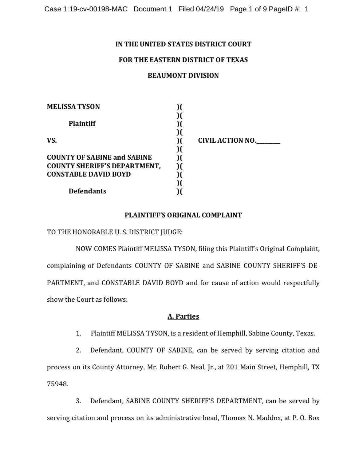 Plaintiff's Original Complaint page 1