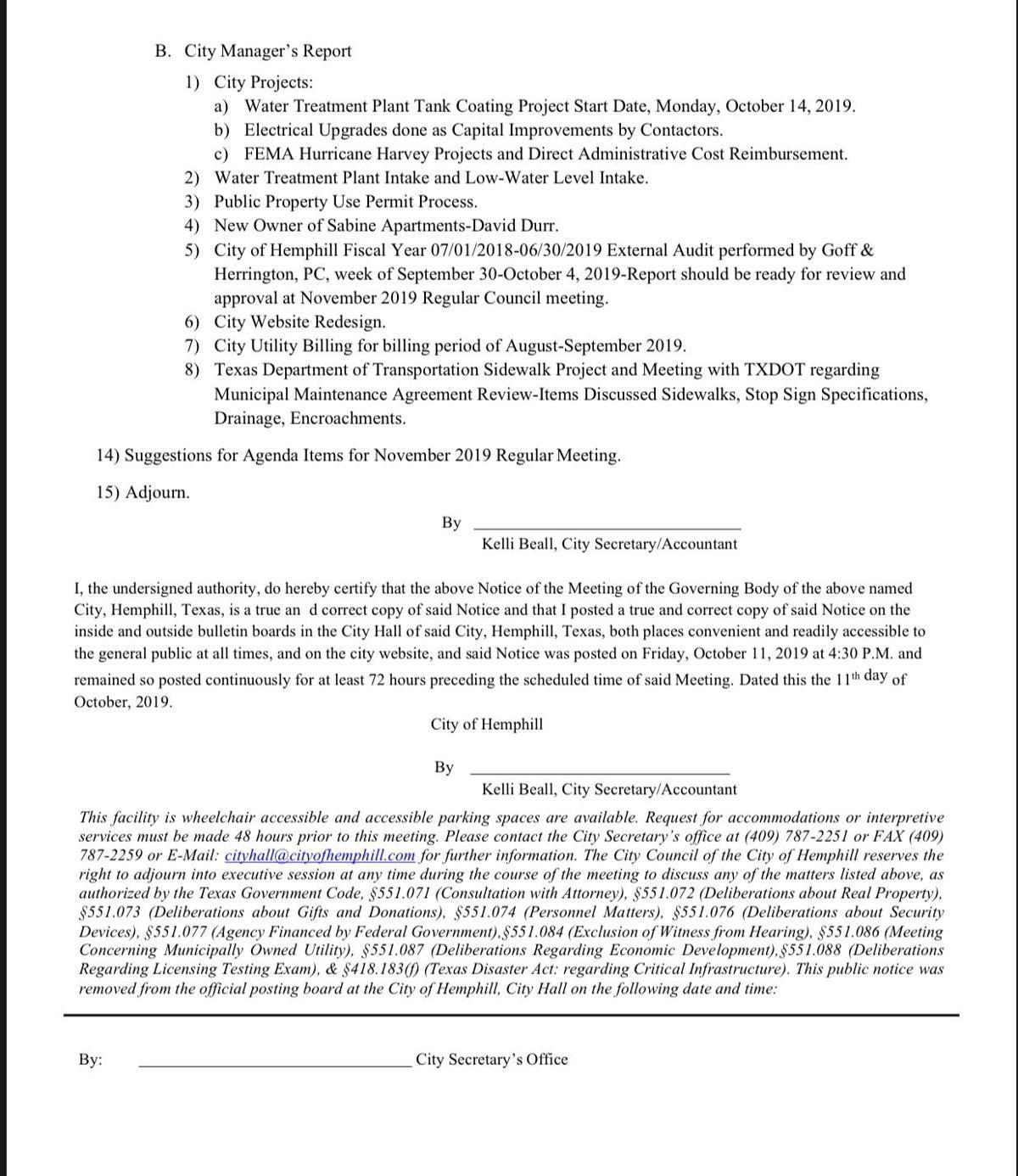 Hemphill City Council Agenda