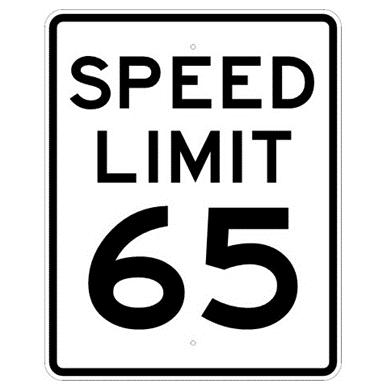 65 speed limit sign