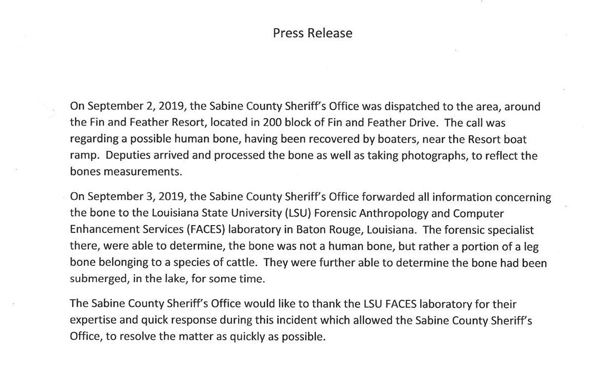 Sabine County Sheriff statement concerning bone fisherman pulled from Toledo Bend