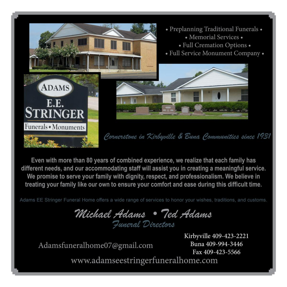 adams ee stringer funeral home serving jasper and surrounding