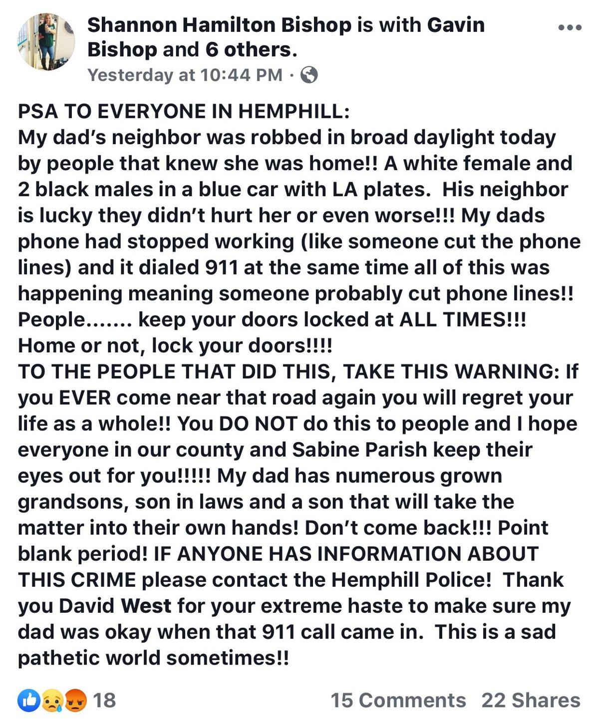Home robbery report in Hemphill spreads across social media overnight, the second in Sabine County this month