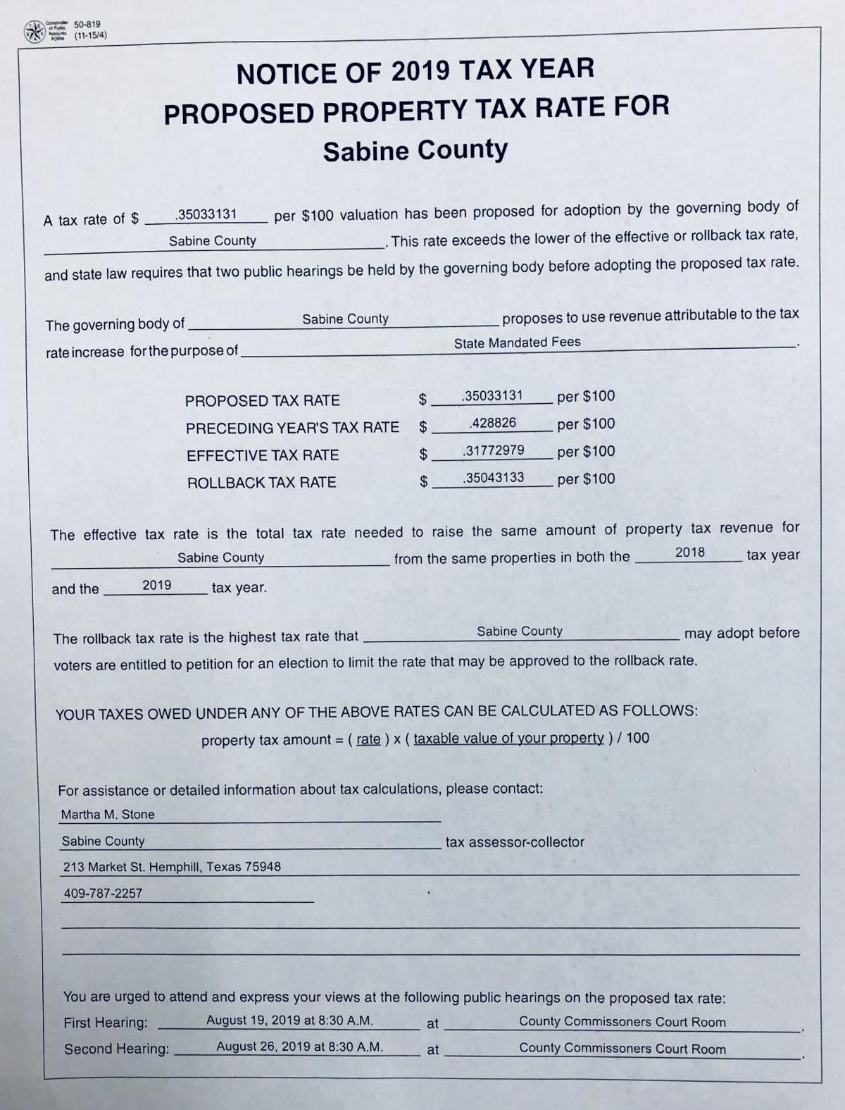 Sabine County proposed property tax rate for 2019