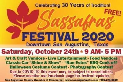 Sasssafrass Halloween 2020 San Augustine Chamber of Commerce to announce 2020 Sassafras