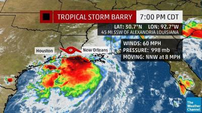 Barry moving inland