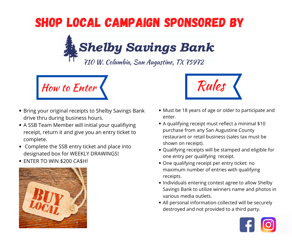 Shelby Savings Bank San Augustine Branch, Shop local and win