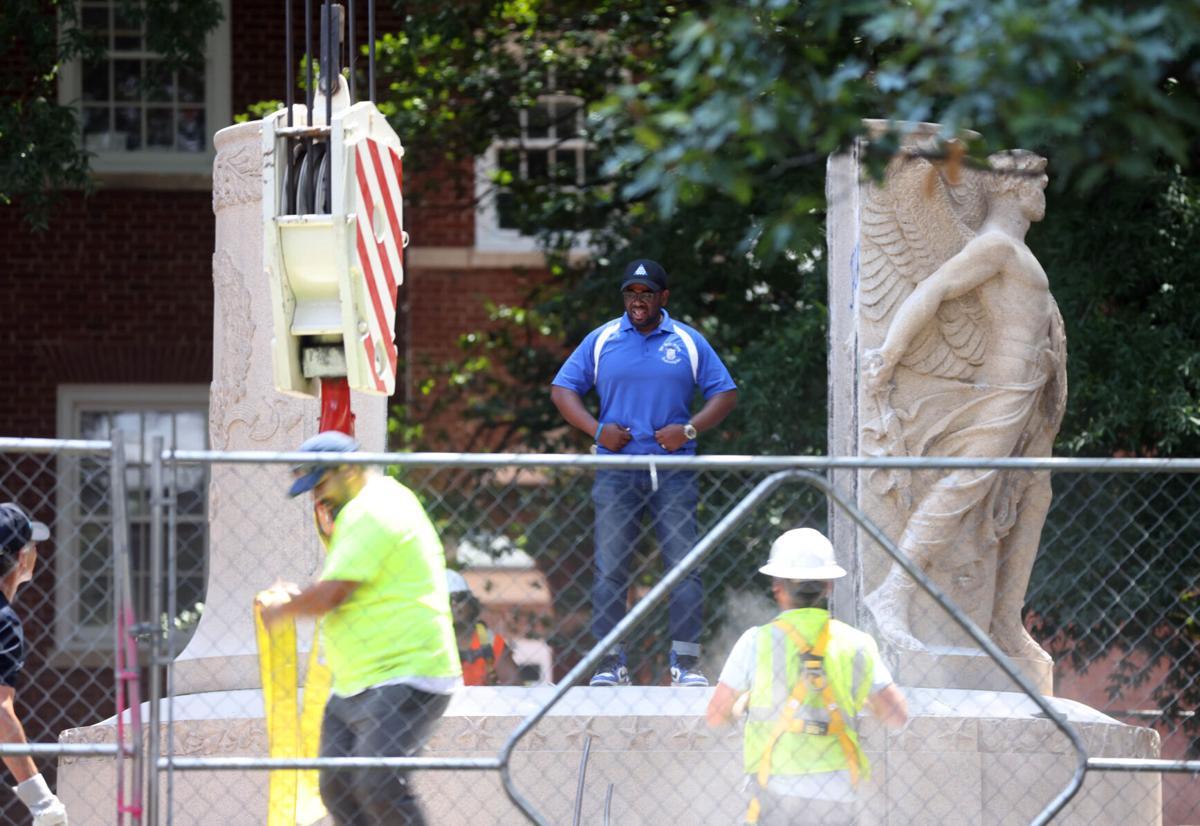 Jackson statue base removed