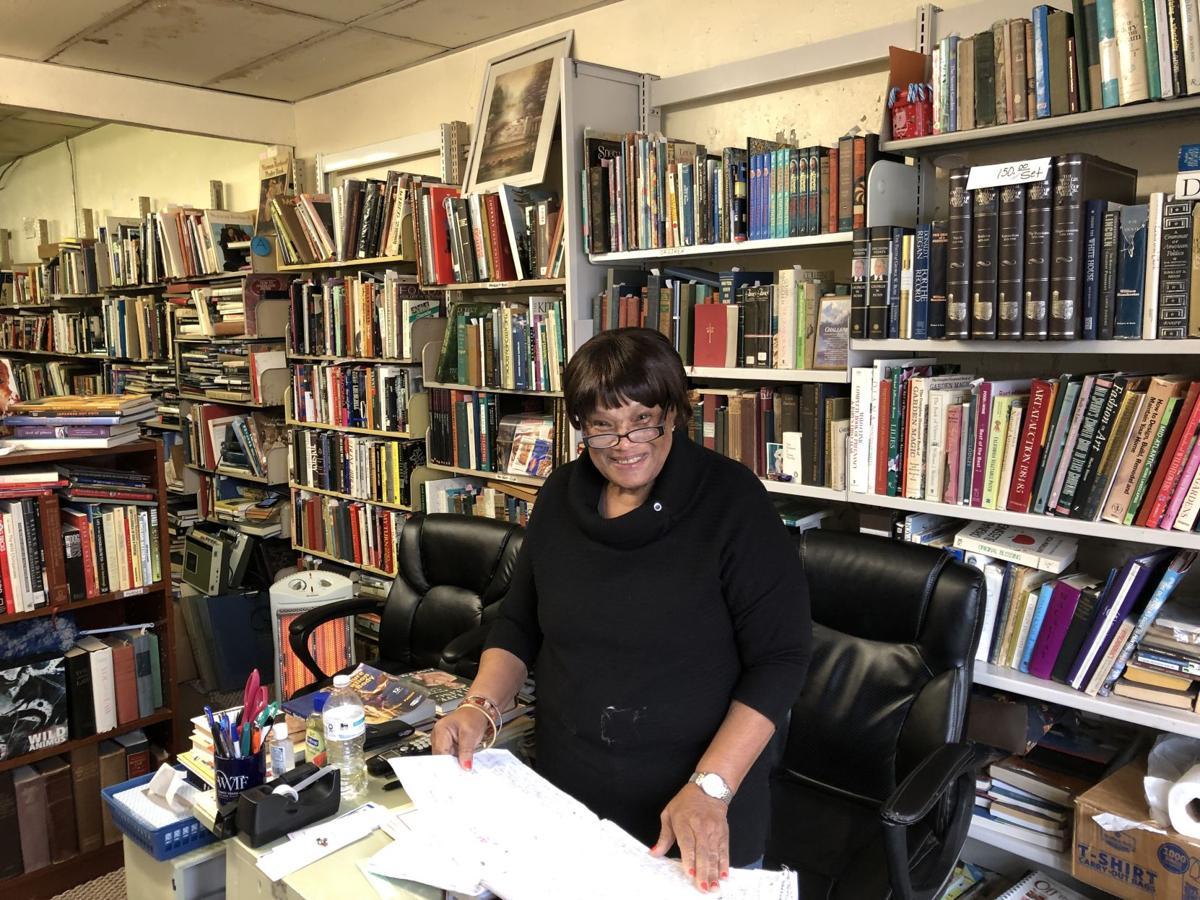 Elouise Poindexter inside bookstore