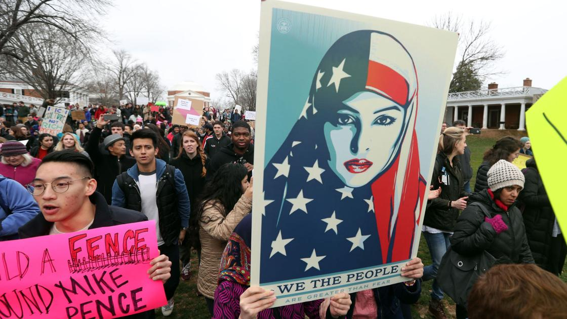 Hundreds rally at UVa against Trump immigration order | Local News ...