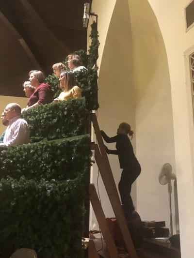 Sheridan Horne climbs the Singing Christmas Tree