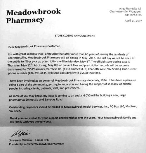 store closing letter to customers Meadowbrook letter | | dailyprogress.com