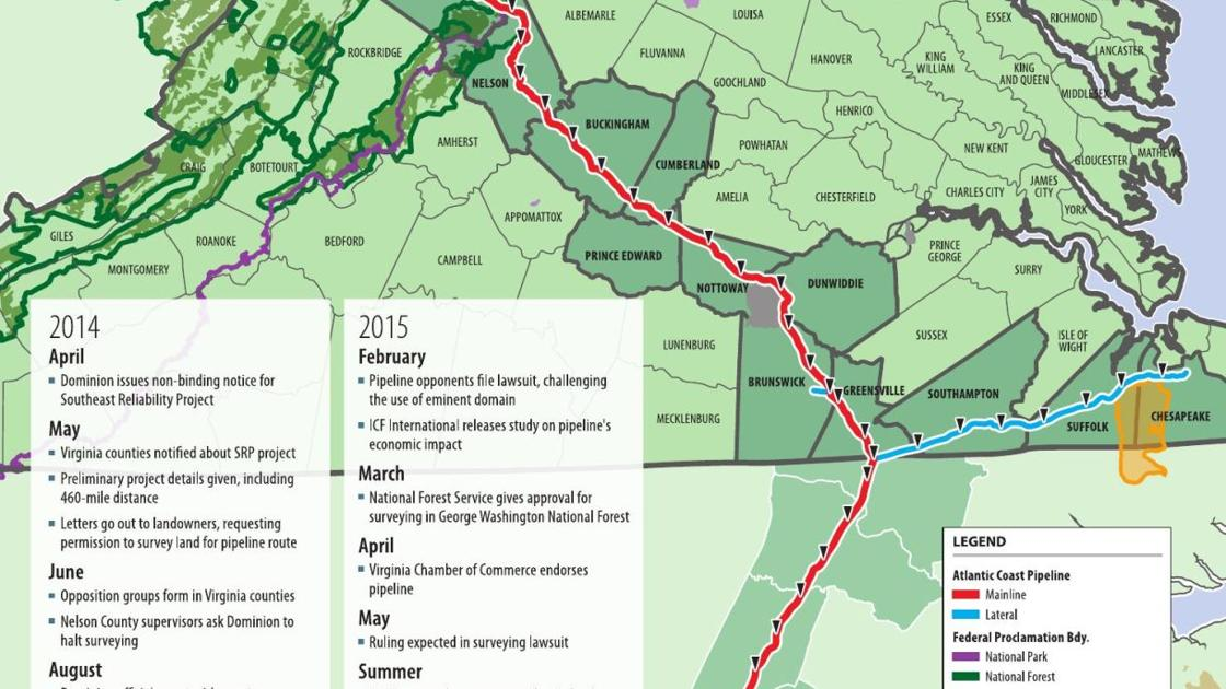 Map and timeline for proposed Atlantic Coast Pipeline ... Atlantic Coast Pipeline Route Maps Nelson Co Va on