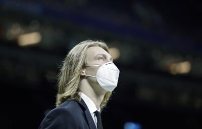 Clemson Tigers quarterback Trevor Lawrence walks around the field after entering the field before their game against Ohio State Buckeyes in the College Football Playoff semifinal at the Allstate Sugar Bowl in the Mercedes-Benz Superdome in New Orleans on Friday, Jan. 1, 2021.
