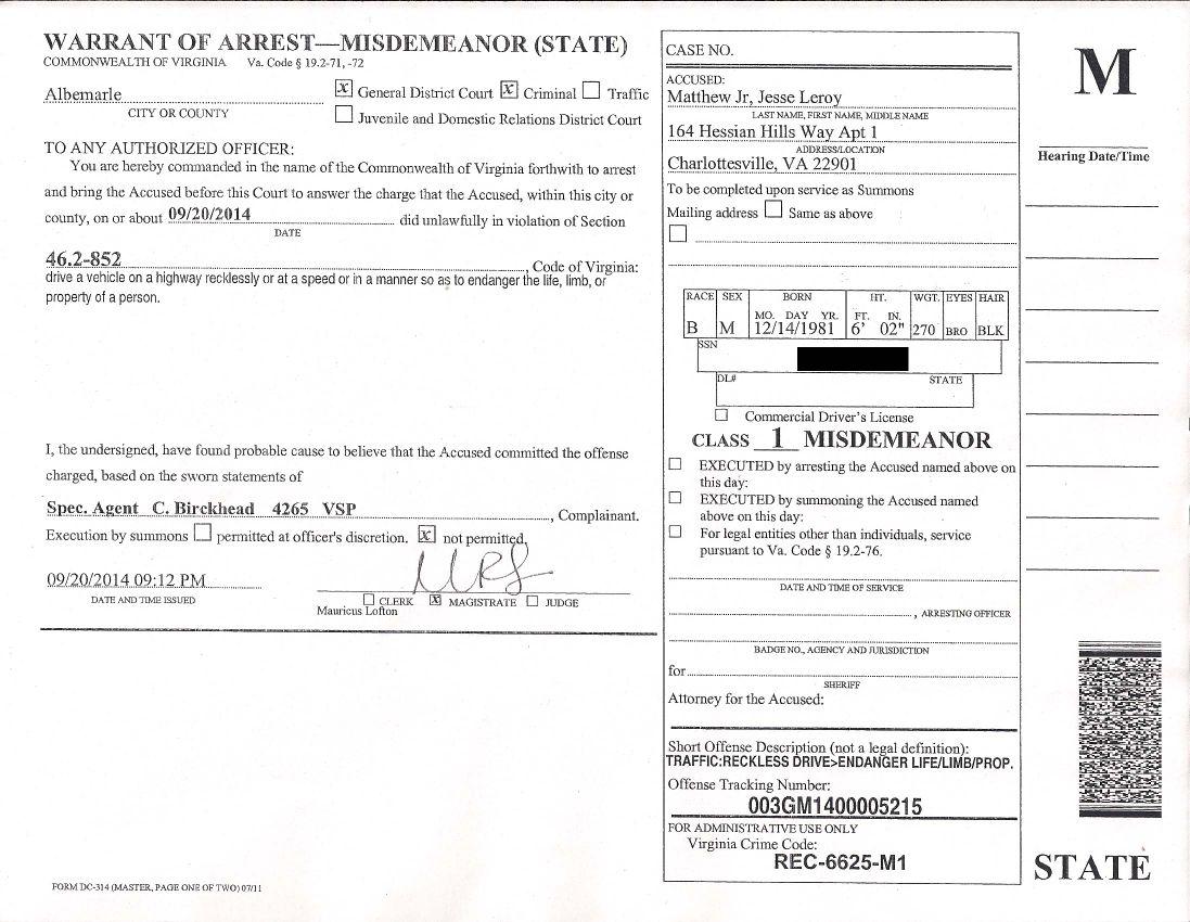 Matthew driving warrant 1