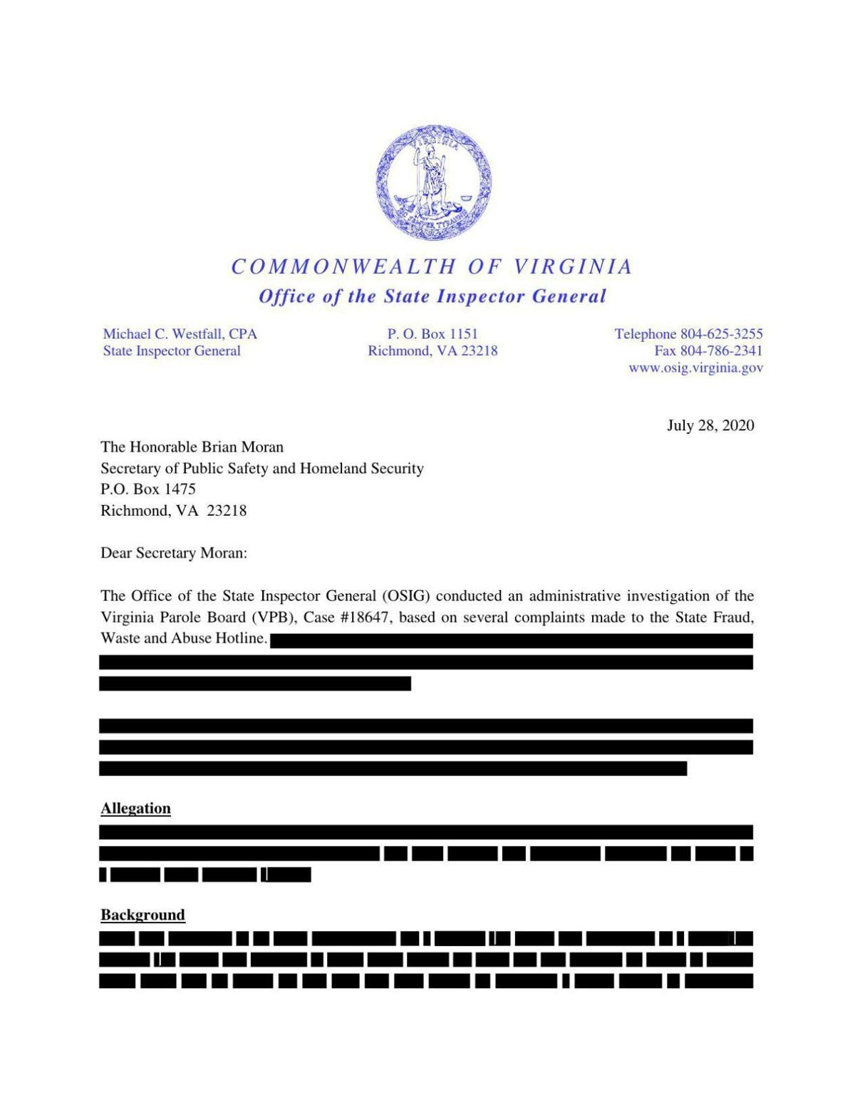 The State Office of Inspector General's report