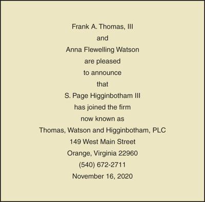Thomas, Watson and Higginbotham ad