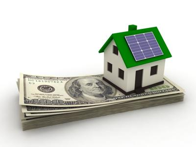 stock illustration of solar powered home on stack of money.