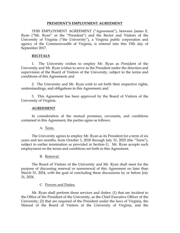 James E Ryans Contract With UVa
