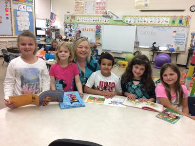 Bev Cooke with first-graders in Meredith Elliott's class at UES