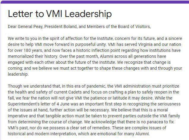 Screen grab of letter to VMI leadership 070920