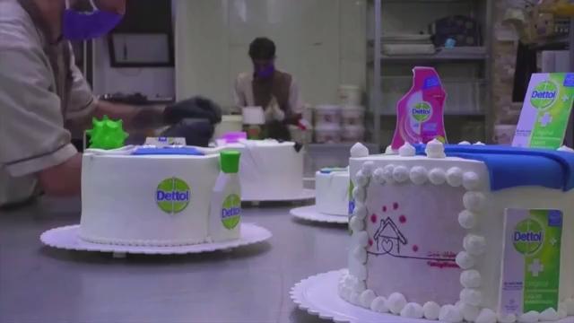 Phenomenal Corona Cakes Iraqi Bakery Makes Virus And Disinfectant Themed Birthday Cards Printable Trancafe Filternl