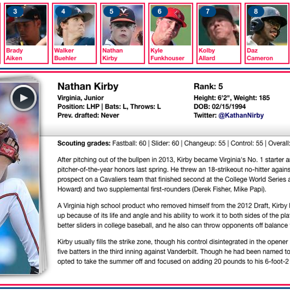 Kirby, McCarthy listed among MLB com's top 50 for draft