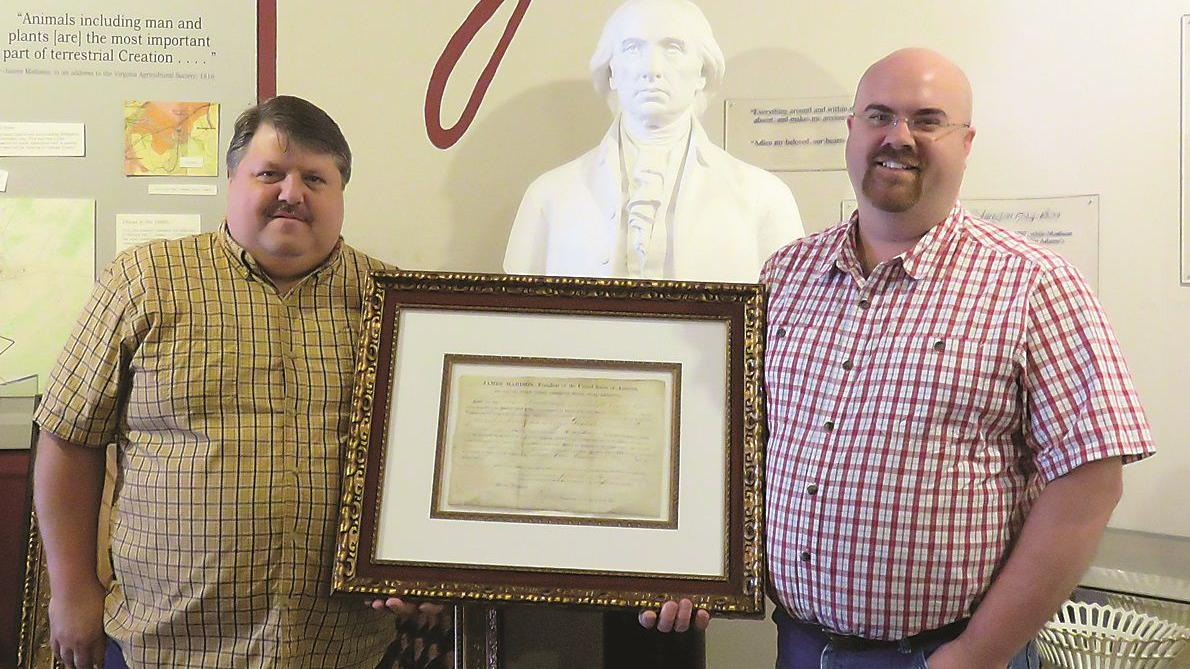 1814 land grant certificate donated at James Madison Museum