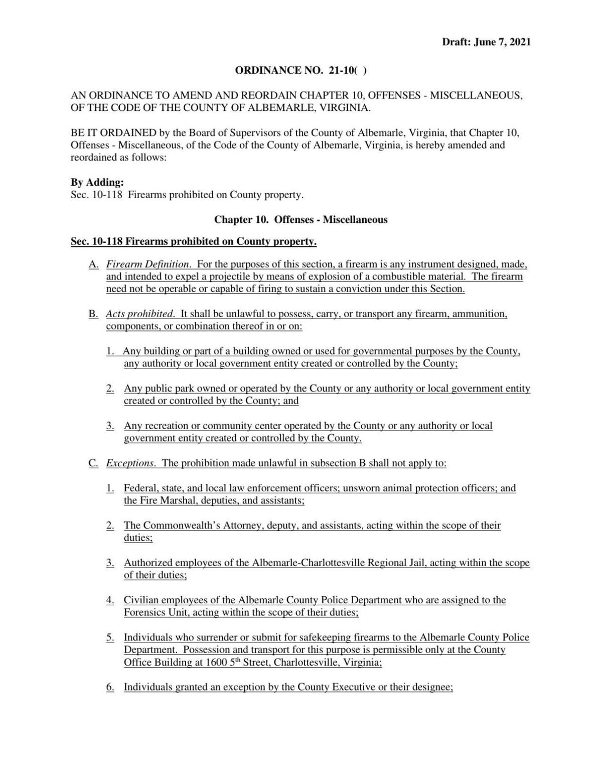 Proposed firearms ordinance