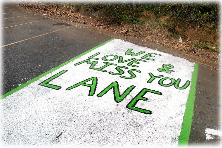 Lane Warren's parking spot memorial