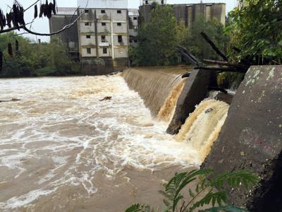 Rapidan flooding over dam from 2015
