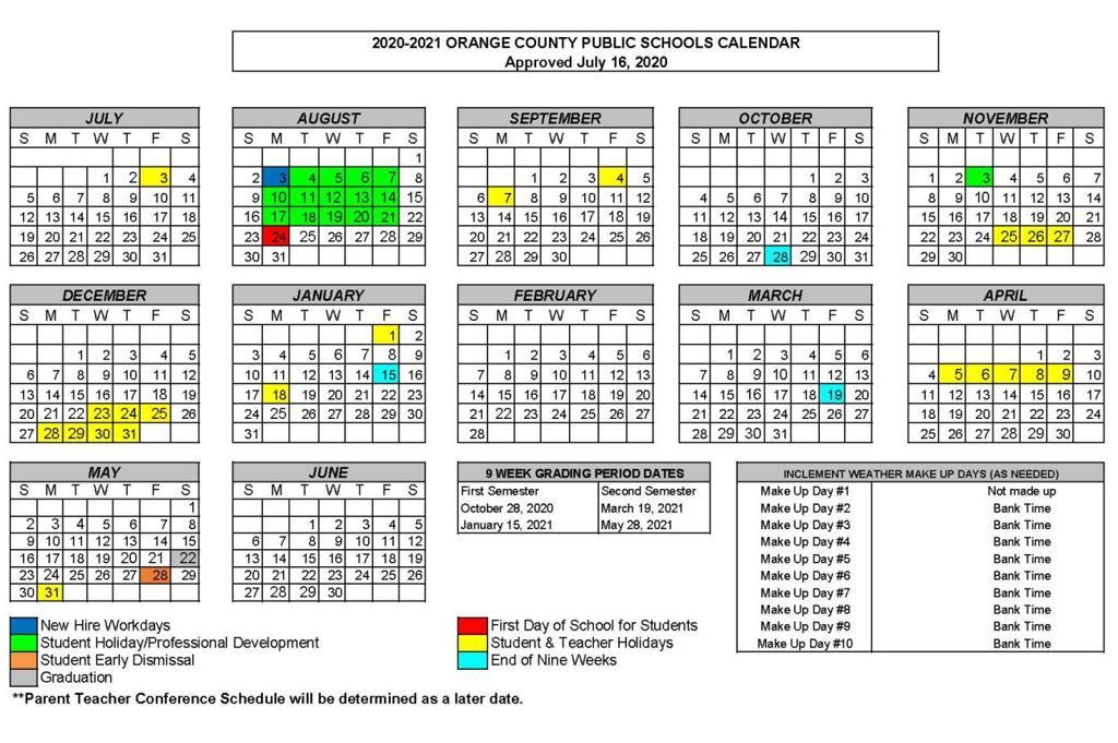 Orange County 2021 Calendar