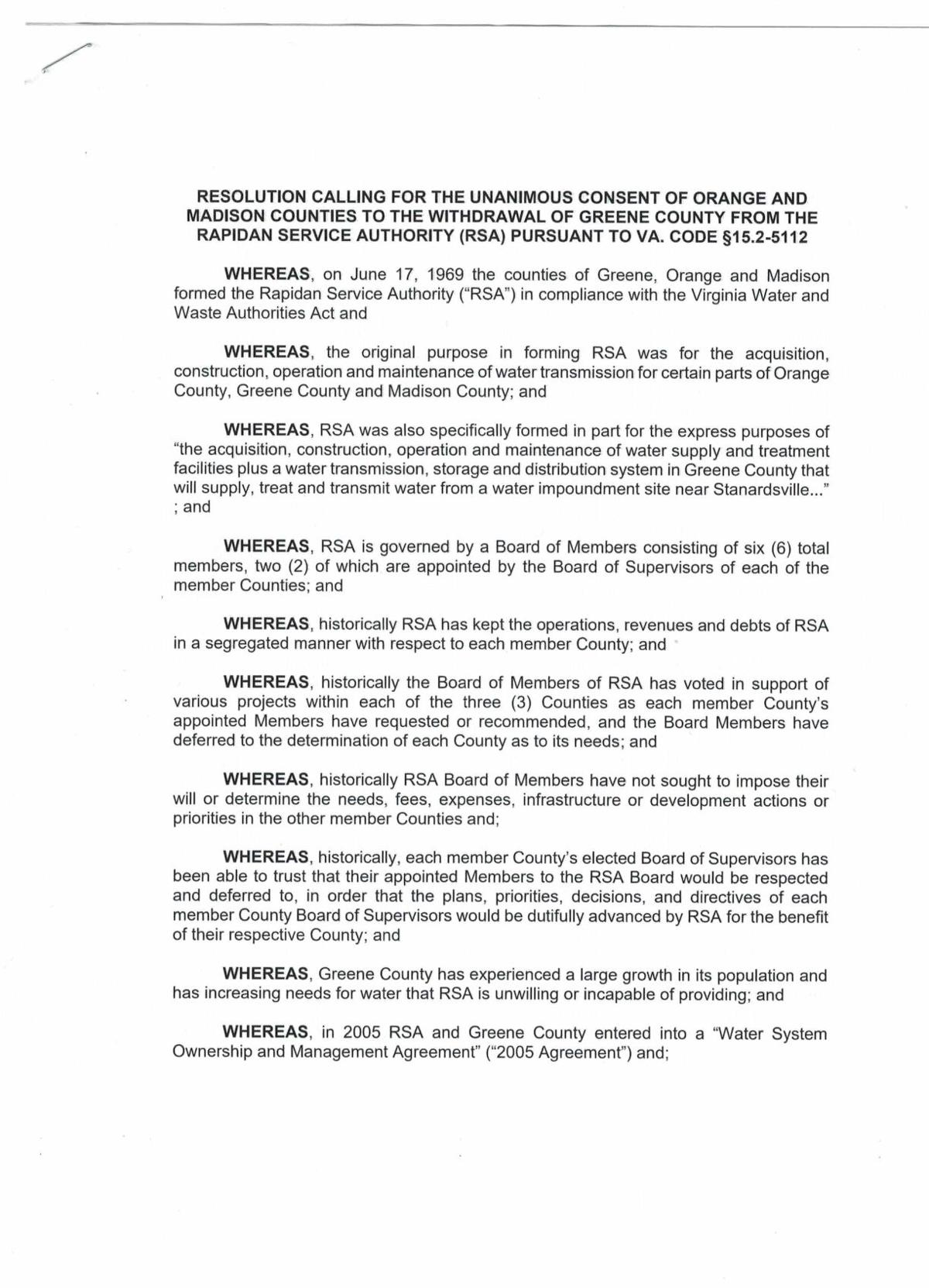 Resolution to withdrawal from RSA