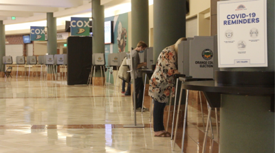 Orange County residents vote at the Honda Center on election day.