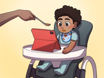 ipad babies illustration